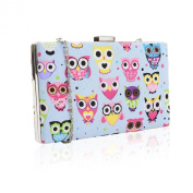 Pale Blue Owl Print Clutch Bag With Shoulder Chain