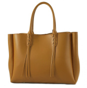 "CTM Satchel Bag Large Handbag Woman with handles, 41cm x 28cm x 5"", Genuine leather 100% Made in Italy"