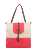 Nasis Retro Cotton Canvas with Leather Shoulder Bag Handbag Tote Bag AL4015