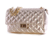 Exquisite Italian Leather Quilted Metallic Large Handbag with Interwoven Chain