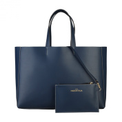 Made In Italia Shopping Bag Of 100% Leather Bluette