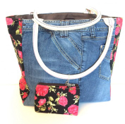 Large Denim top handle Tote Bag. Made from recycled jeans . Retro funky bag perfect for any occasion