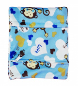 KingWinX Baby Waterproof Reusable Cloth Nappy Bag, Pattern Blue Monkey