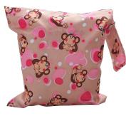 KingWinX Baby Waterproof Reusable Cloth Nappy Bag, Pattern Pink Monkey