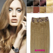 SUMMAY 100% Real Human Hair Full Head 60cm Clip in Human Hair Extensions