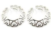 BODYA® 1 Pair Surgical Steel Love Heart flower Non-Piercing Clip on Nipple Shield Bar Ring Body Piercing Jewellery
