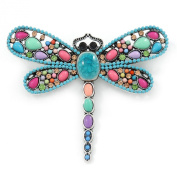 Multicoloured Acrylic Bead, Crystal Dragonfly Brooch In Antique Sivler Tone - 75mm L