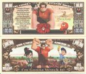 Novelty Dollar Wreck It Ralph Animated Family Comedy Film Million Dollar Bills x 4 Arcade Game