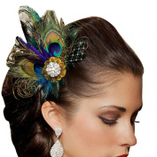 Atdoshop Rhinestones Peacock Feather Bridal Wedding Hair Clip Pin Head Hairpin