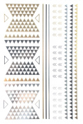 Gold & Silver & Black Jewellery design Metallic Temporary Tattoos, tattoo Size