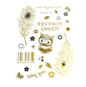 Metallic Tattoos Gold Silver Temporary Tattoo Paper Sheet Pack Owl Feathers Barcode