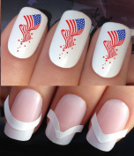 WATER NAIL TRANSFERS DECALS STICKERS ART SET #612 & 172. **plus x48 nail tip guides!!** x24 PROUD TO BE AMERICAN USA AMERICAN FLAG STARS & STRIPES TATTOO WRAPS & x48 FRENCH MANICURE TIP GUIDES! CAN BE USED WITH NATURAL GEL ACRYLIC STICK ON NAILS! OR WI ..