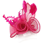Hot Pink Feather & Mesh Corsage Hair Comb / Fascinator