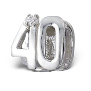 "Silvadore - Silver Bead - ""40"" Forty Number Figure Numerals Mothers Birthday Crystal Cz - 925 Sterling Charm 3D Slide On 393 - Fits Pandora European Bracelet."