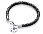 Code Red Black Leather Son Loves Dad Charm Bracelet of Length 20cm