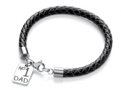 Code Red Black Leather No.1 Dad Charm Bracelet of Length 20cm