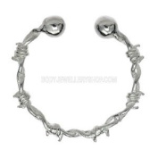 Silver Fake Nipple Ring - Barbed Wire