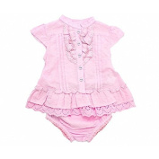 Plum Collections Baby Girl's 3-6m (up to approx 7.7kg) Swiss Spot and Tiny Flower Story Dress and Bloomer 2 Piece Set - Pale Pink