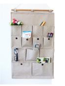Moolecole Pastoral Style Khaka Polka Dots Cotton/Linen Fabric Wall Hanging Organiser 13-Pockets Door Hanging Storage Bag Hanging Shelves
