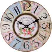 Floral Wall Clock Vintage Shabby Chic Pastel Paris French Style