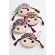 Girls floral purse, cute rag doll with pigtail plaits
