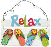 Relax Tropical Sign Flip Flops, Beach and Nautical Accent, Rustic Weathered Paint