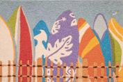 Daytona Surfers Colourful Surfboards Accent Area Rug 50cm X 80cm Jellybean
