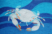 Coastal Blue Crab Swimming in Ocean Waves Accent Area Rug 50cm x 80cm Jellybean