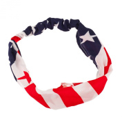 Lux Accessories American Flag Stars Stripes 4th Of July Stretch Headband Head Band.