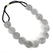 Fashionwu Lady Silver Hook Flower Wafer Stretchy Hair Band Headband