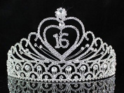 Janefashions Sweet Sixteen 16 Birthday Party Austrian Rhiestone Tiara Crown Hair Combs T1629