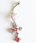 VINTAGE GEM PAVED PINK CRASTAL CROSS BELLY NAVEL RING DANGLE BUTTON PIERCING jewellery