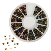 300pcs 3D Nail Art Tips Black Gems Crystal Glitter Rhinestone DIY Decoration Kit With Wheel