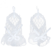 eFuture(TM) White Wrist Length Sexy Fingerless Lace Voile Short Bridal Gloves +eFuture's nice Keyring