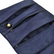 Topro Oriental Silk Jewellery Wrap Roll Organiser Travel Case Makeup Bag Colour Dark Blue