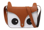 eFuture(TM) Brown Retro Cute Fox Owl PU Leather Messenger Bag/Crossbody Satchel/Animal Handbag +Keyring