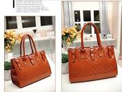 JOVANAS FASHION Elegant Plaid Pattern PU Leather Luxury Women Lady girl message Tote bag purse satchel Handbag W/ Shoulder Strap