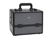 Seya Plastic Lined Six Tier Pro Makeup Cosmetic Train Case - Black Carbon Fibre