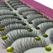 10 Pairs Long Cross False Eyelashes Fake Thick Eye Lashes