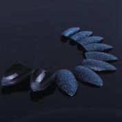 ECBASKET 24x Fake Nails Black Glitter False Nail Tips Acrylic Nail Art Decoration