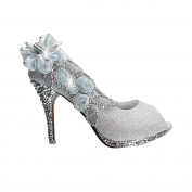 Silver Womens Party Platform High Heel Wedding Bridal Shoes Open Toe Glitter Pumps