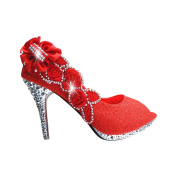 Red Womens Party Platform High Heel Wedding Bridal Shoes Open Toe Glitter Pumps