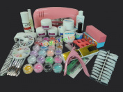 Nail Dryer 9w Uv Dryer Lamp 24 Colours Acrylic Powder Nail Art Kit Gel Tools Full Set Professional