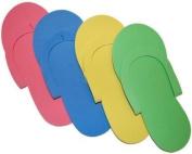JOVANA 12 Pair Disposable Foam Pedicure Slippers Multi Colour Flip Flop Salon Nail Spa