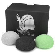 Konjac Sponge (3 Pack) - Facial Sponges - Hemisphere Shape - Charcoal, Green Tea, Natural White