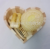 New fashion bathroom accessories wooden bath set 3 Pieces cleansers hair brush bath suit