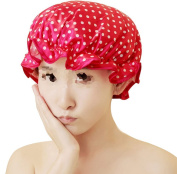 Newest trent New. Double Layers Waterproof Elastic Bath Cap Shower Cap For girls women Keep Hair Dry, Cute Dot And Wave Pattern - 4 Type Available