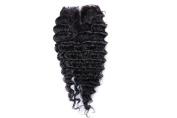 ShowLife 100% Virgin Human Hair Brazilian Deep Wave 20cm - 46cm Middle Part 6A Natural Colour Human Hair Top Lace Closure