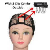 BHD-S Size Middle U Part Weaving Wig Foundation Wig Cap with Sturdy Straps 2.5cm X 8.9cm U Part and 2 Clip Combs