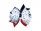 ColorBeBe - Patriotic Grosgrain Hair Bow Clip, Barrette